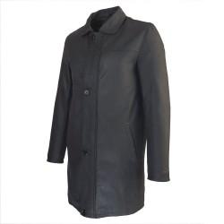 1a42dcc2440c ... veste cuir homme trois quart quatre boutons noir capitaine de profil ...