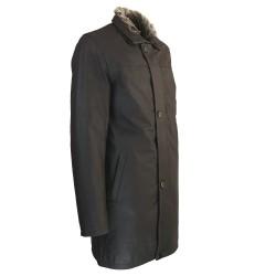 840967c83a97 ... veste cuir homme trois quart quatre boutons col amovible marron  vaisseau de profil ...